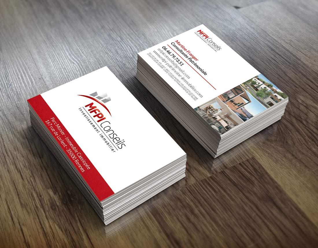 Création carte de visite MFPI Conseils Immobilier Rennes