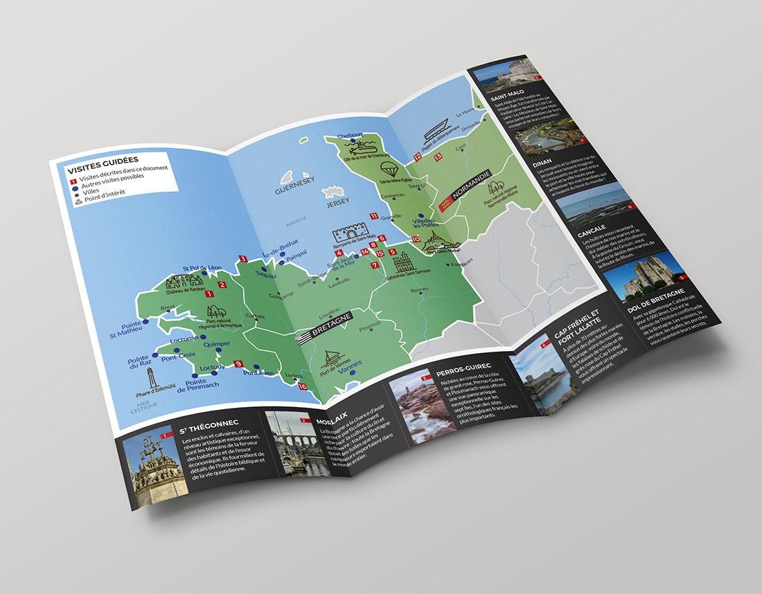 Dépliant tourisme Bretagne et Normandie, communication TPE