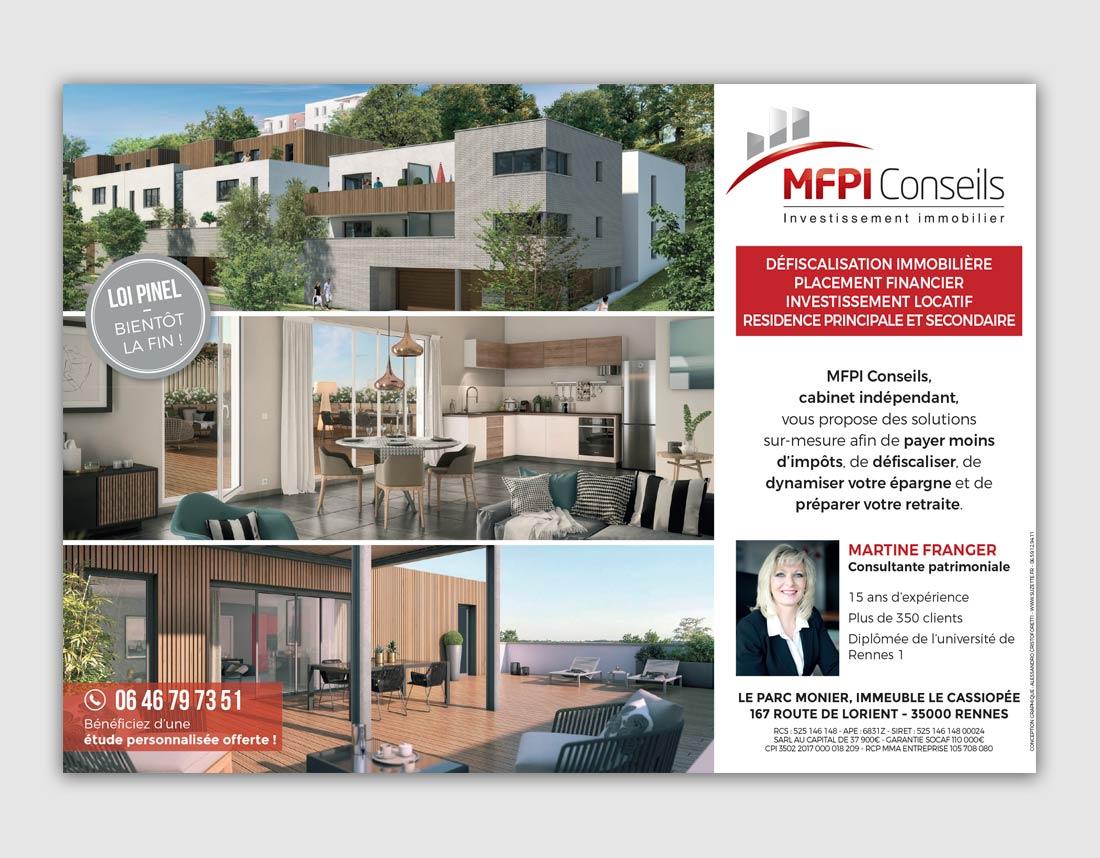 Création graphique encart publicitaire TPE immobilier, devis gratuit