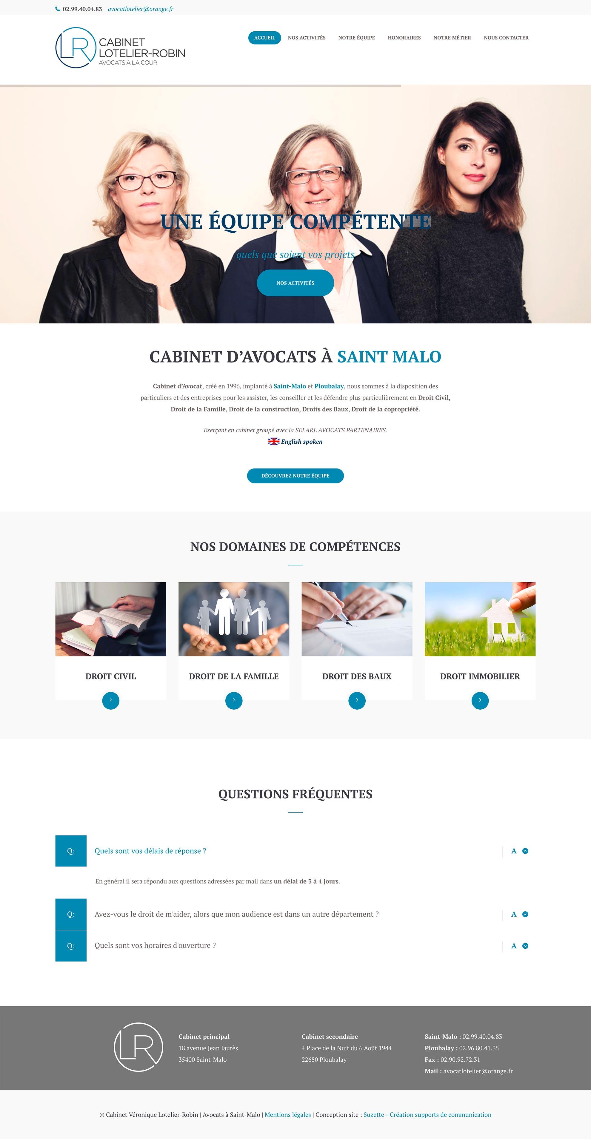 """Création du site internet du cabinet d'avocats """"Lotelier-Robin"""" à Saint-Malo - Rennes."""