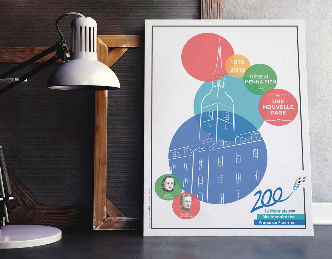 Création graphique de l'affiche du bicentenaire du Réseau Mennaisien