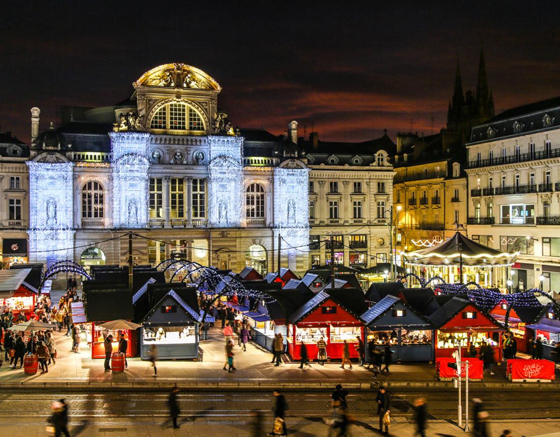Photographie de la place du ralliement à Angers, Noël 2017