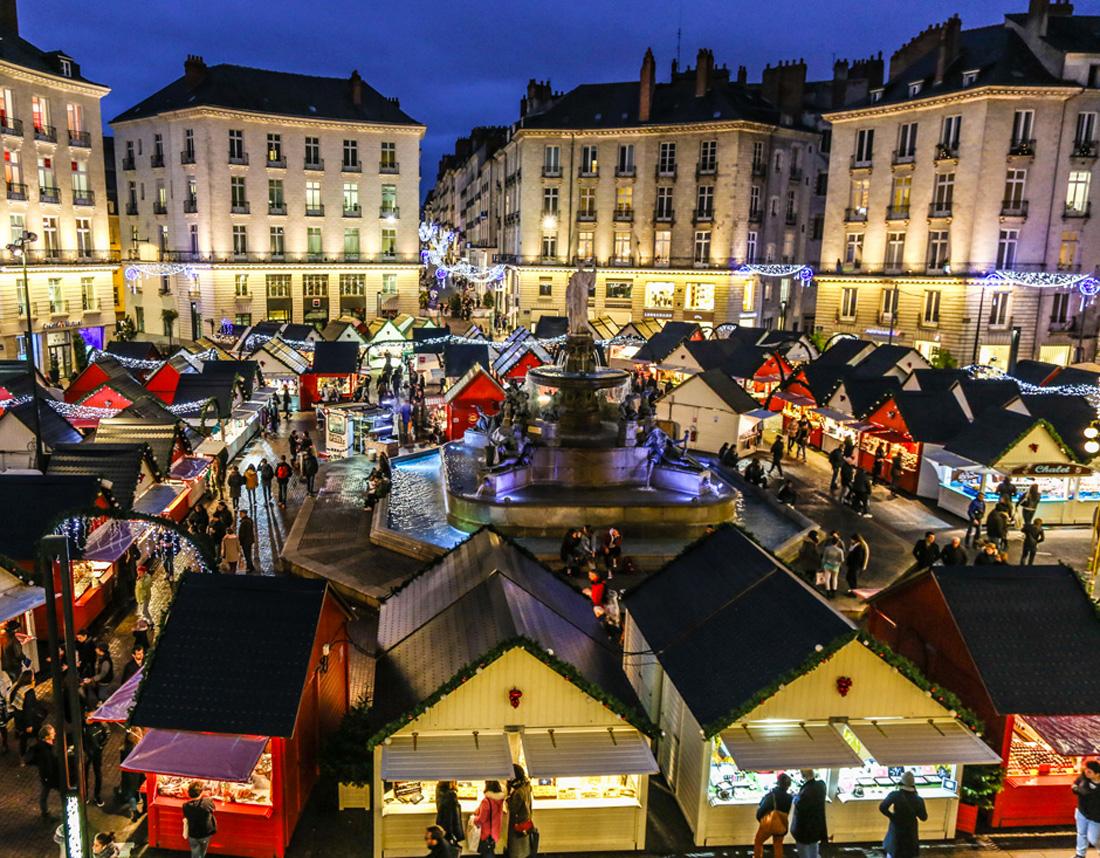 Photographie de la place royale à Nantes, Noël 2017