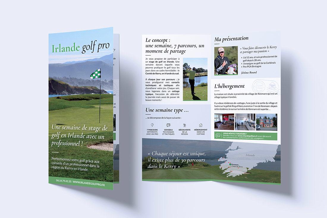 Intérieur et couverture dépliant Irlande Golf Pro