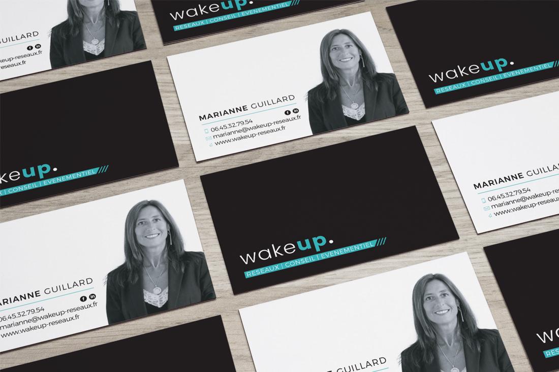"""Création identité graphique """"WAKE UP"""" : logo et carte de visite"""
