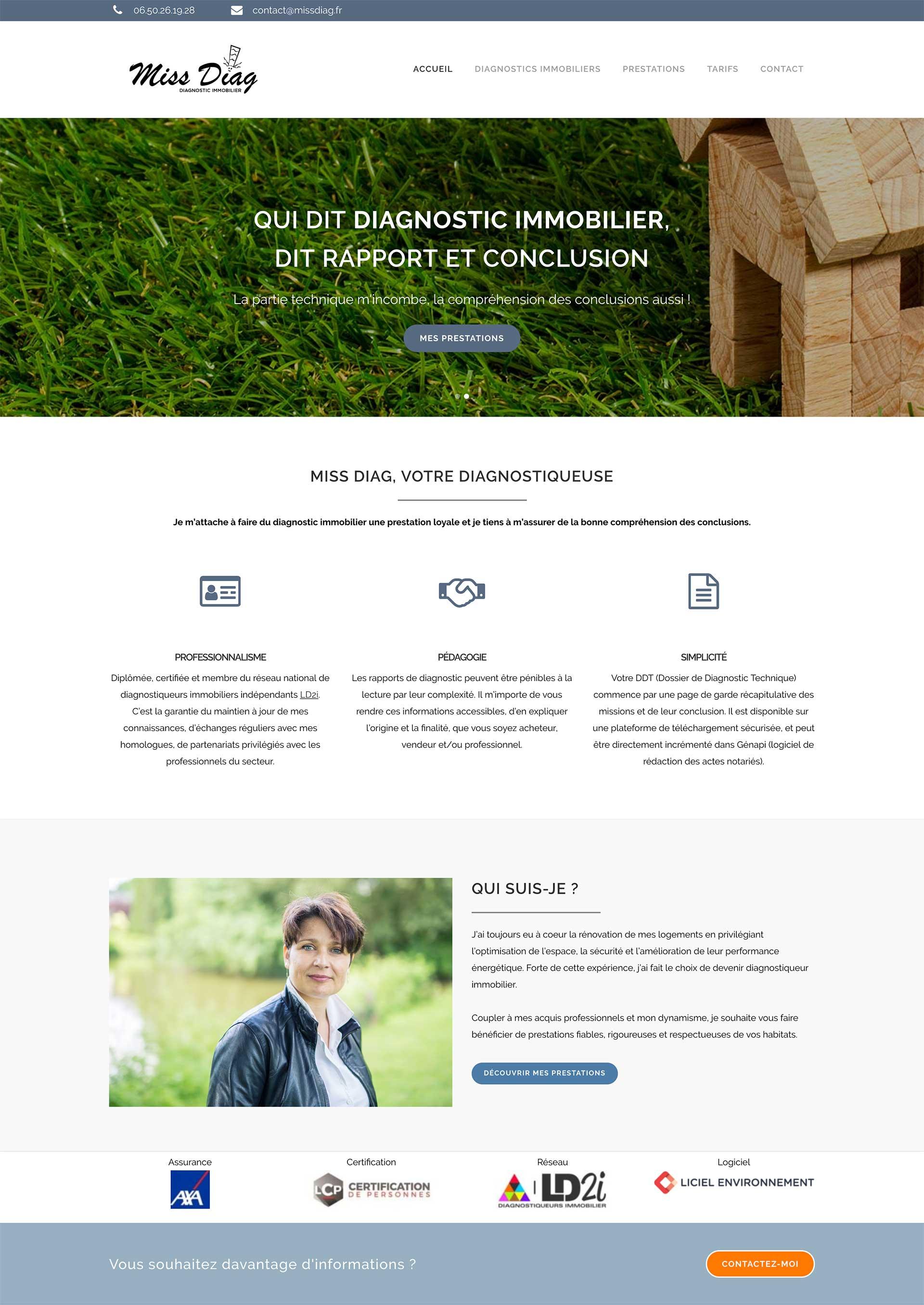 Agence de communication à Rennes : création site internet Miss Diag