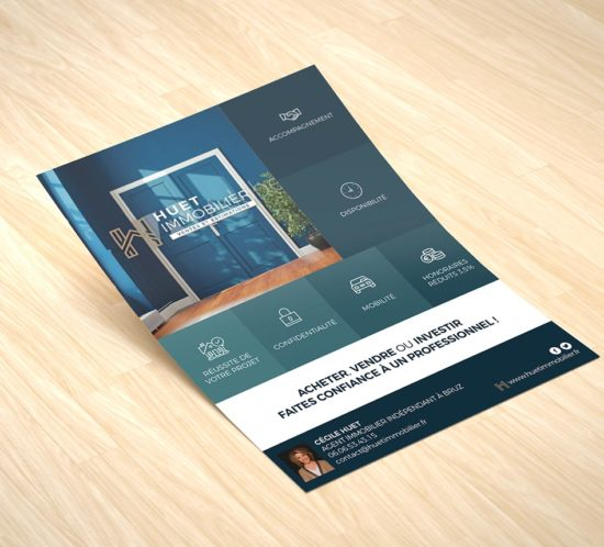 """Création d'un flyer pour promouvoir l'activité d'agent immobilier """"Huet immobilier"""""""