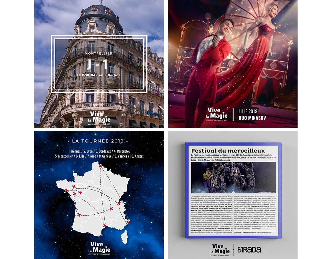 Création de visuels et organisation de jeux concours pour le Festival Vive la Magie sur instagram