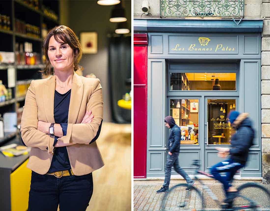 Agence de communication à Rennes : réalisation d'une série de photos portraits pour la boutique Les Bonnes Pâtes