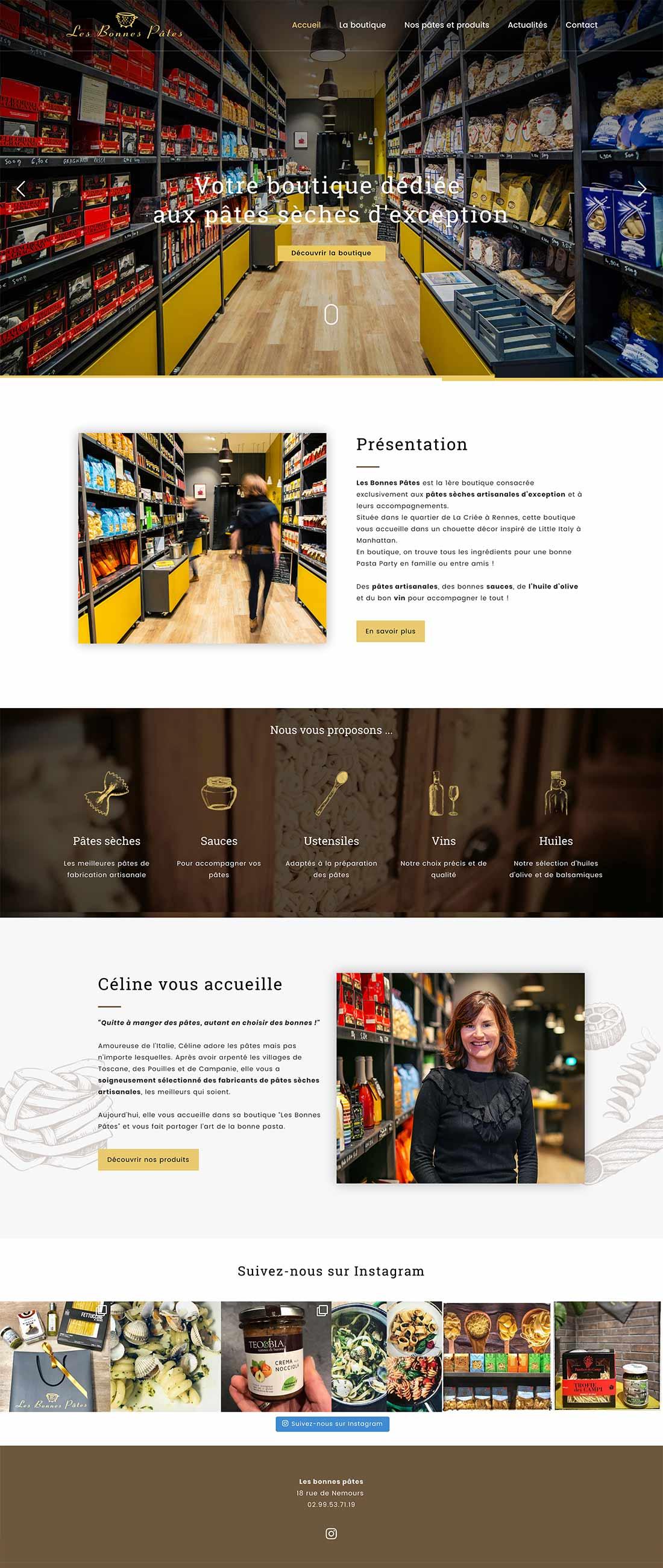 Agence de communication à Rennes : réalisation du site internet de la boutique Les Bonnes Pâtes
