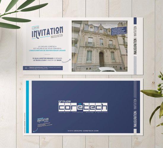 Création d'une carte invitation pour la soirée d'inauguration de l'entreprise rennaise Corétech