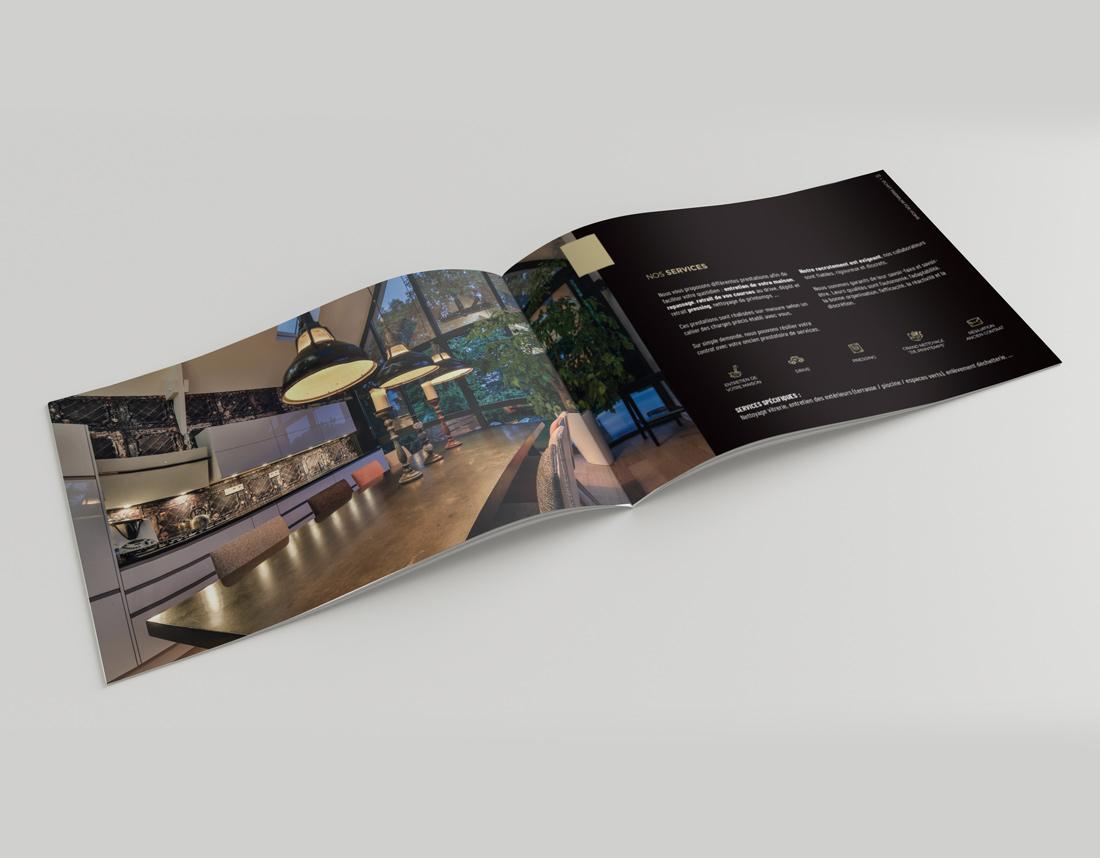 Création de la brochure (présentation des services) de l'entreprise Pchit Premium, par l'agence Suzette à Rennes
